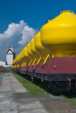 Large Freight Train With Blue Background Situated On Railway sta Stock Photos