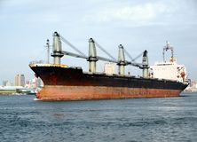 Large Freighter Leaves Kaohsiung Stock Photo