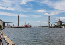 Large Freighters on Savannah River Royalty Free Stock Images