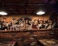 Large Fresco in Bar in Durango USA Stock Photo