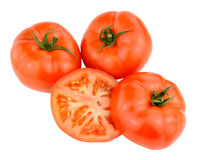 Large Fresh Beef Tomatoes. Group of large fresh beef tomatoes isolated on a white background Royalty Free Stock Photo