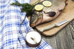 A large fresh carp live fish lying on a wooden board with a knife and slices of lemon and with salt dill. Royalty Free Stock Image