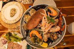 Seafood platter. Large fresh seafood platter in a restaurant in famous seafood town of Saint Malo, Brittany, France Royalty Free Stock Images