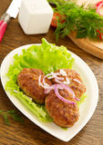 Large fried cutlets Royalty Free Stock Images