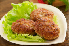 Large fried cutlets. With  lettuce Stock Photography