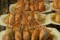 Large fried shrimp on a plate. Thailand. stock photos