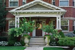 Large front porch of older house Royalty Free Stock Photography