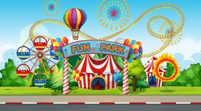 Large fun park background. Illustration royalty free illustration