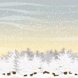 Large furry spruce, covered with snow in a glade. Winter morning or day. Vector landscape Stock Photography