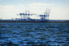 Large gantry cranes at the port of Gdansk, Poland. Royalty Free Stock Photo