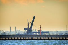 Large gantry cranes at the port of Gdansk, Poland. Stock Images