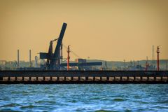 Large gantry cranes at the port of Gdansk, Poland. Royalty Free Stock Photography