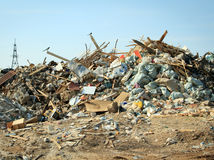 Large garbage dump at sunny day Stock Photo