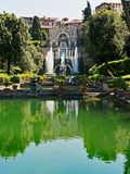 Large Garden Pond, Tivoli, Italy. The historic Villa d`Este, Tivoli, an ancient Roman holiday resort near Rome, Italy, with the Villa, architectural fountains Stock Images