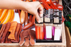 Large gas lighters multicolored in tray Stock Photos