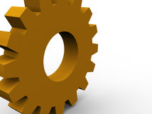 Large gear. Orange 3d gear concept render Stock Photography