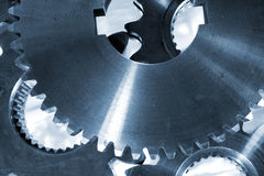 Large gears and cogs, titanium and steel Stock Images