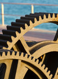 Large gears of a marine engine boat Stock Images