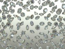 Large Gemstones scatter and fly away over gradient. Background 3d render Royalty Free Stock Photos