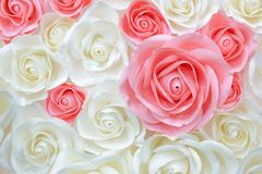 Large Giant Paper Flowers. Big pink, white, beige Rose, peony made from paper. Pastel paper background pattern lovely style. Flowe
