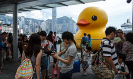 Large Giant Rubber Yellow Duck. HONG KONG - JUNE 7: Hundreds of tourists crowded around the large Giant Rubber Yellow Duck On June 7 2013 :Yellow Duck Sculpture Royalty Free Stock Photos