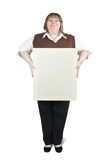 Large girl holds blank canvas. It is isolated on a white background Royalty Free Stock Photography