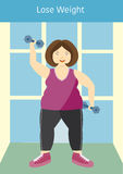 Large girl posing with an exercise dumbbells,lose weight,Vector illustrations. Large girl posing with an exercise dumbbells,lose weight Stock Photo