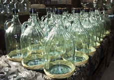 Large glass bottles Stock Photo