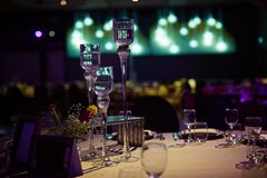 Large glass candlesticks in the banquet hall. stock image