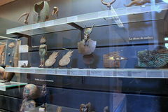 Large glass case with artifacts from Egyptian excavations,The Louvre,Paris,France,2016 Stock Photography