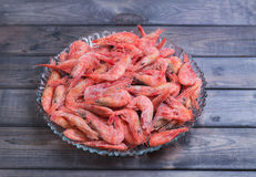 Large glass dish with a large frozen shrimp Royalty Free Stock Photo