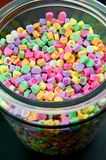 Large Glass Jar of Candy Hearts Royalty Free Stock Images