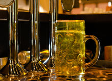 Large glass tankard of draught beer Royalty Free Stock Images