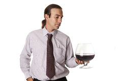Large glass of wine tasting Stock Images