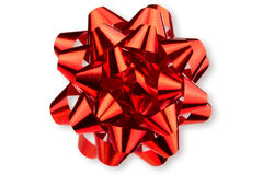 Large glossy red bow Royalty Free Stock Photos