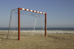 Large Goal. Large five-to-five football goal on a beach Royalty Free Stock Image