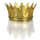 Large gold crown on white background Stock Photos