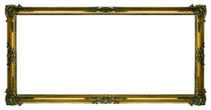 Large Gold Landscape Picture Frame. Large gold Gilded picture frame in a wide rectangular format isolated on a white background Stock Image
