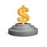 Large gold money symbol on concrete podium Royalty Free Stock Image