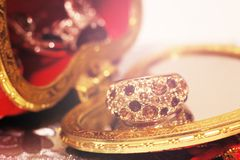 Large gold ring with stones stock images