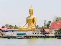 Large golden Buddha image Stock Photo