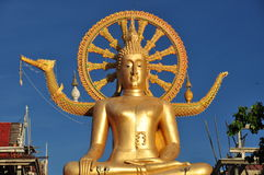 Large golden Buddha statue. Buddha statue from Wat Phra Yai (Big Buddha Temple) on Koh Samui, Thailand royalty free stock images