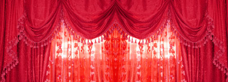 Large golden curtain Stock Photo