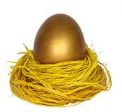 Large golden egg in nest on white. A golden nest egg on a white background Royalty Free Stock Image