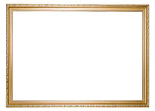 Large golden empty frame isolated in white Stock Images