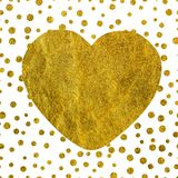 A large golden heart on the background of small gold dots of different size with copy space Stock Photography