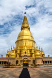 Large golden temple with sky background, Name is Phra Maha Chedi. Hra Maha Chedi Srivang Chai, Golden temple for buddhism to pray for faith Stock Photography