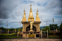 Large golden temple with sky background, Name is Phra Maha Chedi Royalty Free Stock Photos