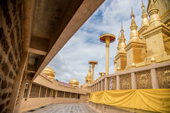 Large golden temple with sky background, Name is Phra Maha Chedi Royalty Free Stock Image