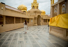Large golden temple with sky background, Name is Phra Maha Chedi. Phra Maha Chedi Srivang Chai, Golden temple for buddhism to pray for faith Royalty Free Stock Images